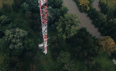 Aerial photograph of an athmospheric station measurement tower.