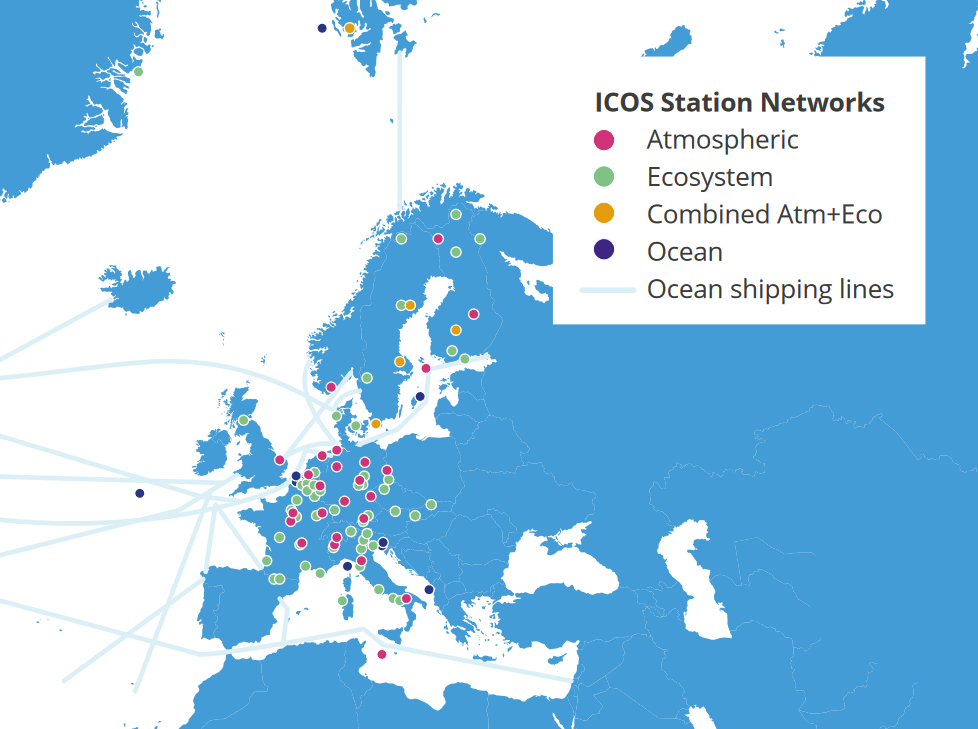 ICOS Stations Networks map